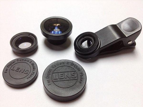 Универсальный набор объективов для телефона 3 в 1 черный, фишай, зум