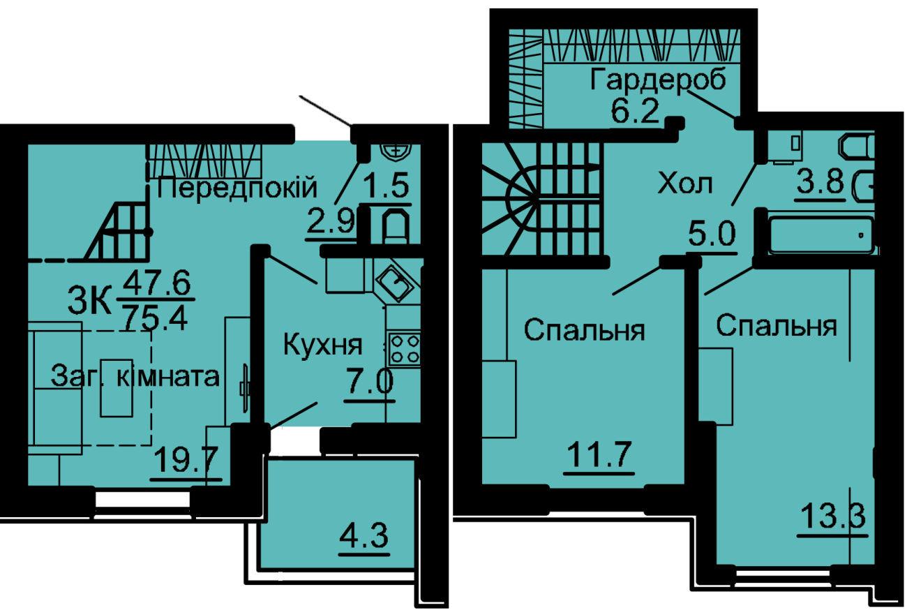 3к квартира в  Киеве ЖК Львовский Маеток