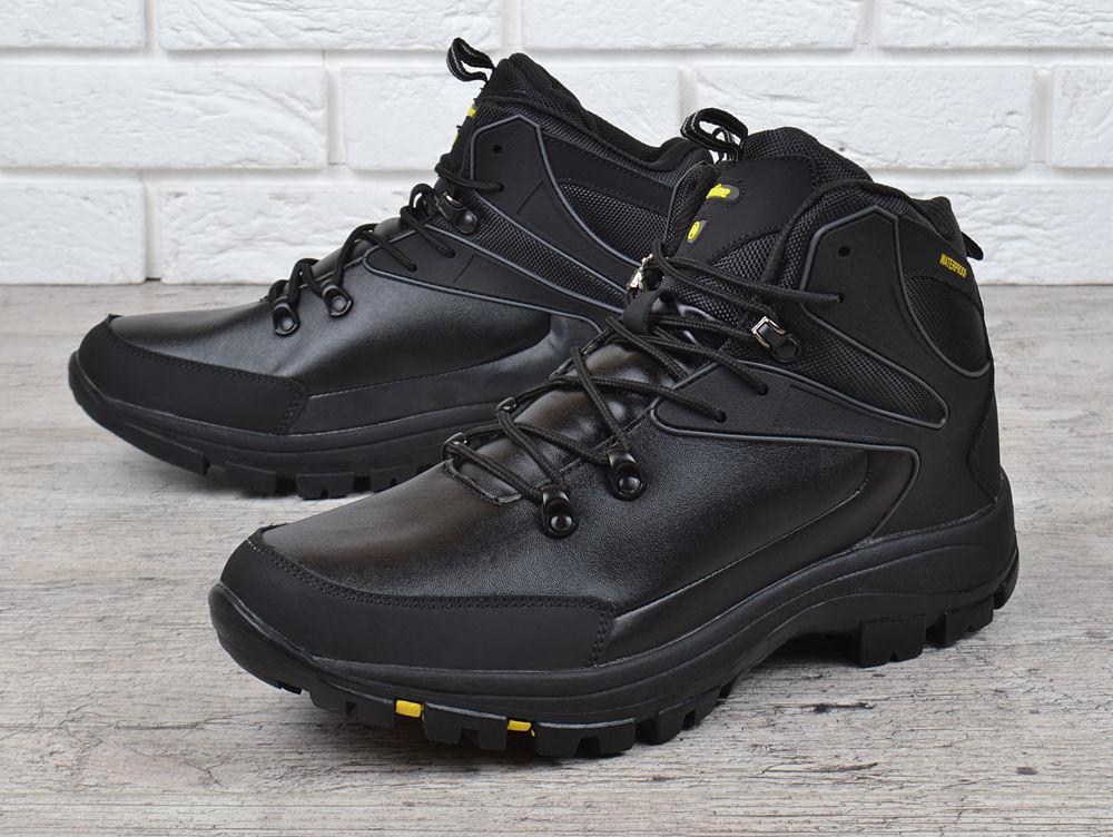Ботинки мужские зимние кожаные waterproof черные Big man большие разме 2bae341348f