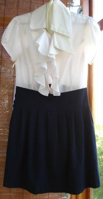 платье летнее, белое с синим, р. 10, р. 175, дл. 90 +