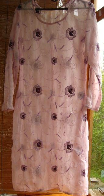 сиреневое индийское платье камиз, С М, 8 10 р., вышивка цветы
