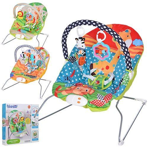 Детский шезлонг кресло Bambi музыкальный с виброрежимом