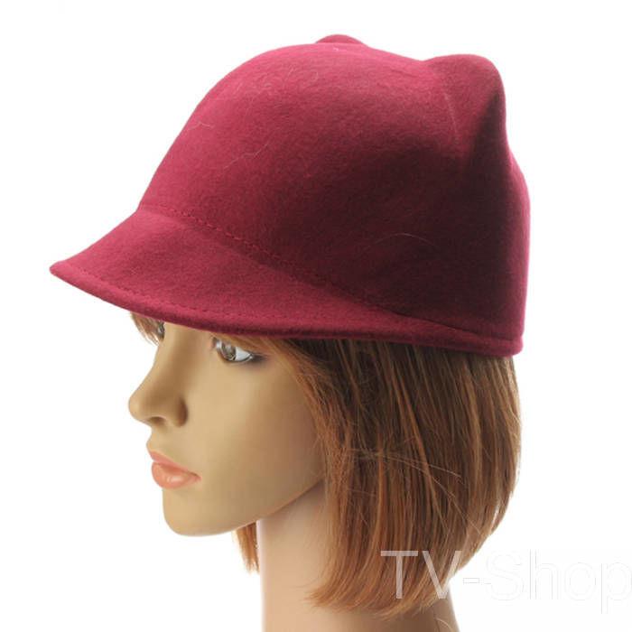Модна фетрова шапка капелюх жокейка з вушками бордова розмір 57-58 ... 3bbca9368de52