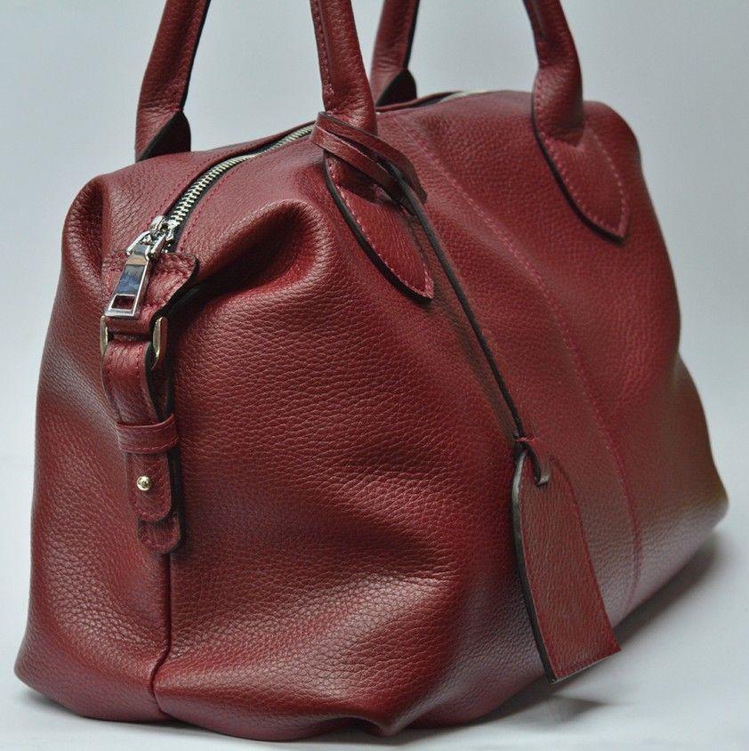 719c80e1cc3f Купити зараз - Вместительная женская бордовая сумка из натуральной ...