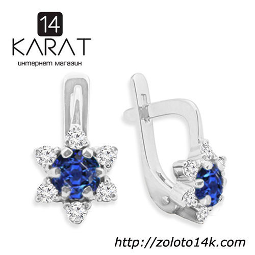 Золотые серьги с натуральным сапфиром и бриллиантами 0,24 карат  12 ... 3ada36ed039