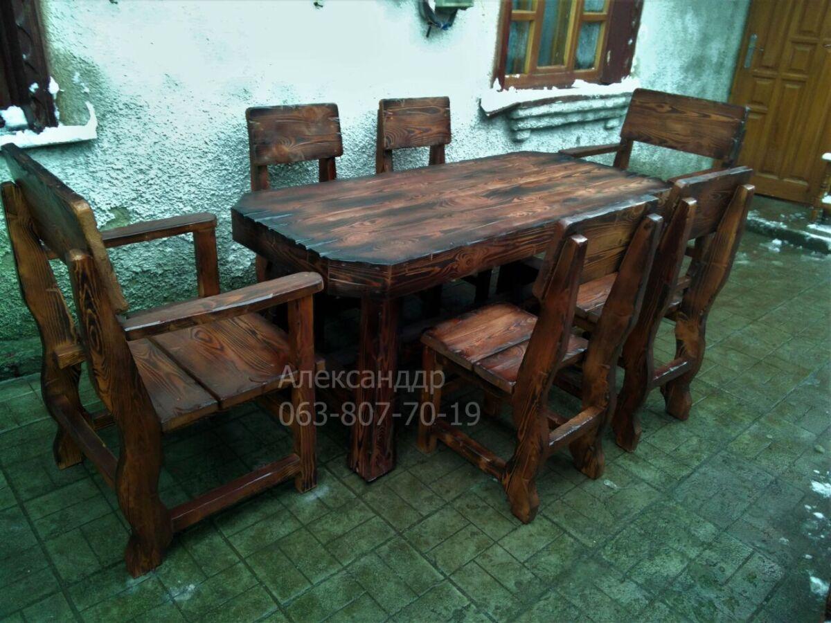 Комплект охотничий №1 (стол, стулья, кресла) мебель в баню, для бани
