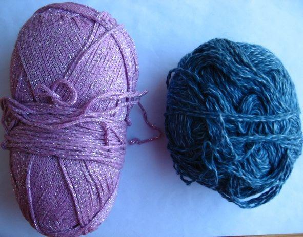 пряжа нитки для вязания, хлопок розовый с люрексом и синий с белым