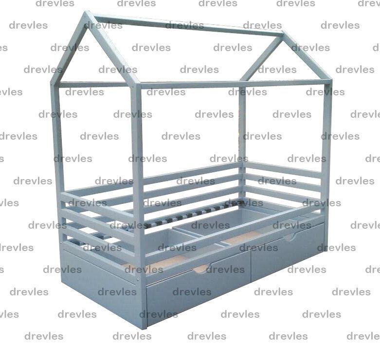 Детская домик-кровать с ящиками
