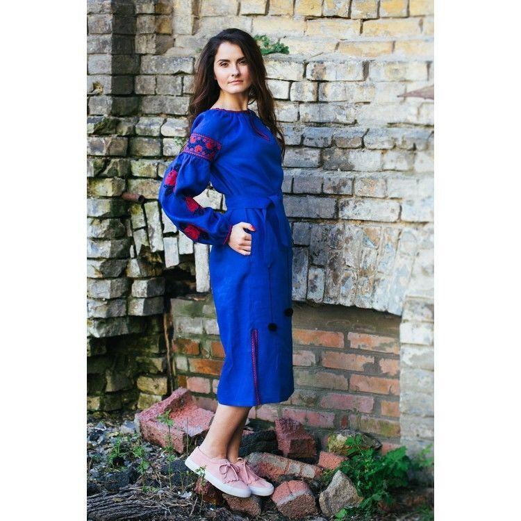 Плаття синє з червоними трояндами  2 150 грн. - Сукні ae1c2a62a4592