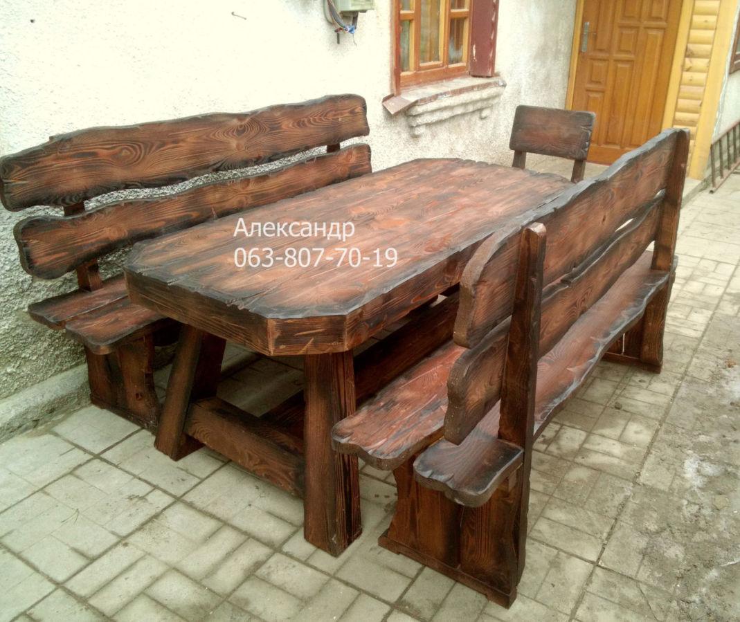 Комплект охотничий №2 (стол, стулья, лавки, кресла) в баню, кафе, бар