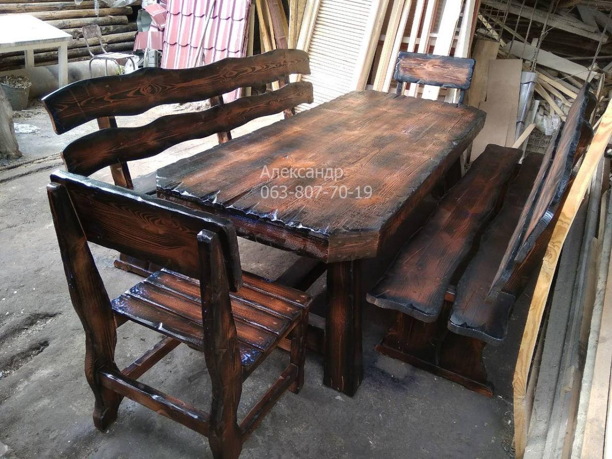 Комплект охотничий №3 (стол, стулья, лавки, кресла) для сада, бани