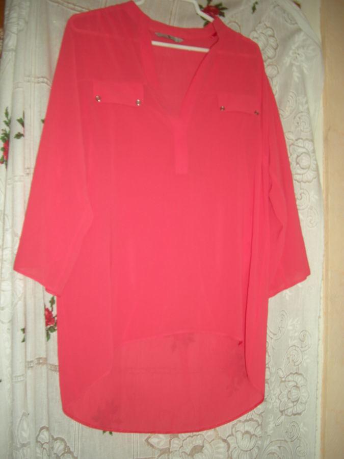 "Супер блуза кораллового цвета""tu""р.12,полиэстер,румыния."