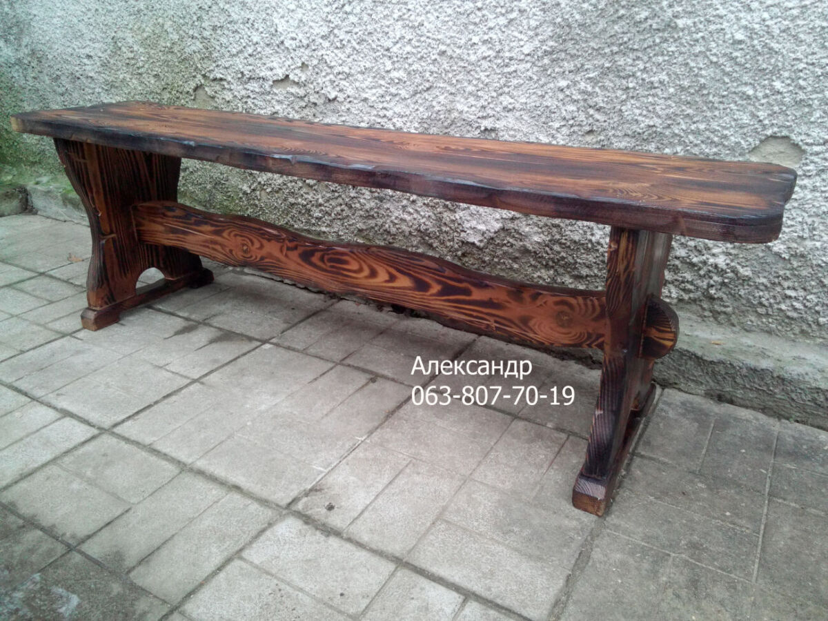 Деревянная скамейка под старину, лавочка для сада ( лавочки из дерева