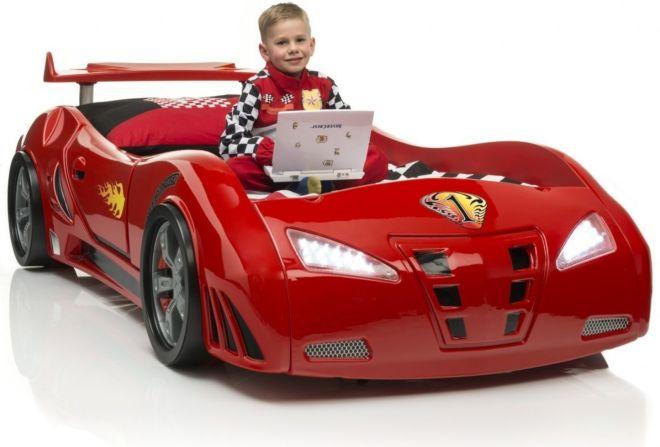 Детская кровать-машина  (красная) со звуковыми эффектами