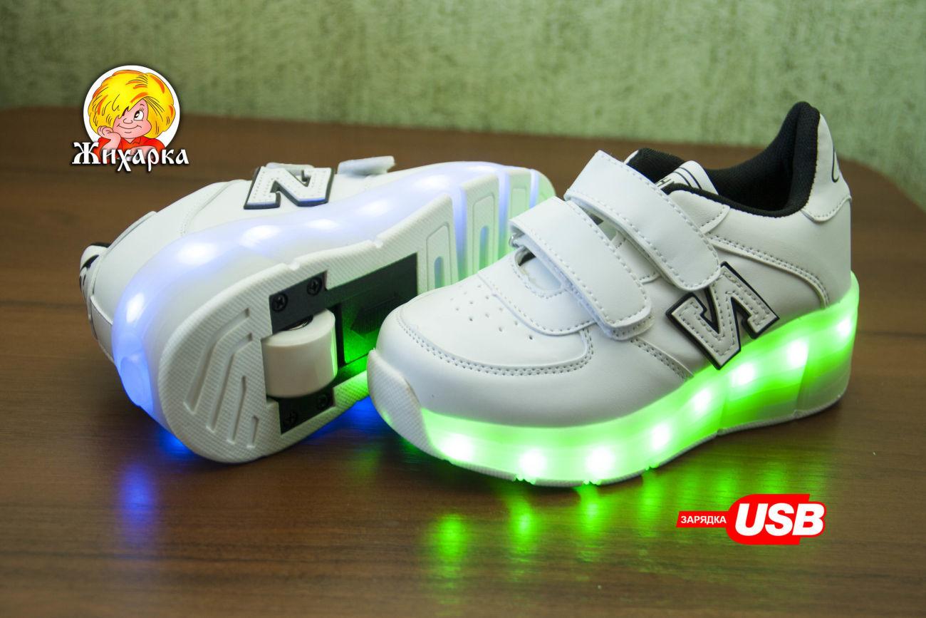 60202043 Тренд! Светящиеся кроссовки ролики с LED подсветкой 31-38 размер ...