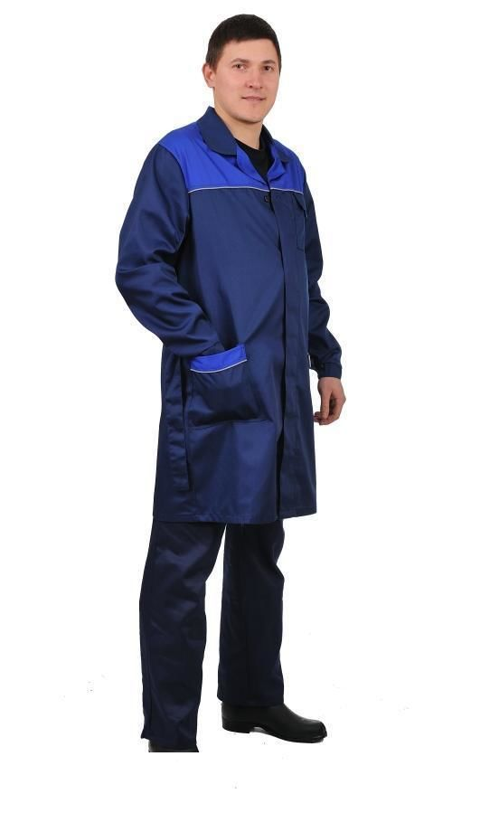 Халат рабочий мужской темно-синий  342 грн. - Спецодяг і спецвзуття ... ea30c0d592d46
