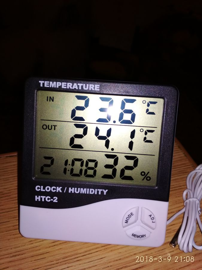 Гигрометр Термометр цифровой HTC-2 с выносным датчиком.