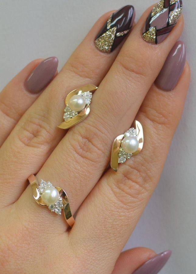 f8a30c67a37b Серебряное кольцо, серьги, набор с жемчугом 106  1 145 грн ...