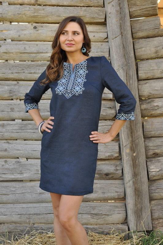 446863a2b54 Купить сейчас - Платье льняное тёмно синее  1 100 грн. - Платья ...