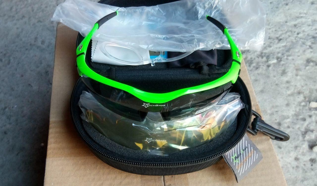 Новые очки RockBros, 5 линз, поляризация, 2 чехла, комплект, зеленые
