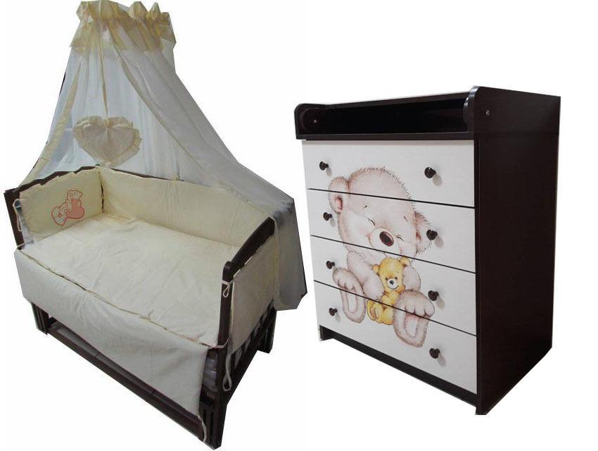 Акция! Новое! Комплект! Комод, кровать, матрас кокос, постель 8 эл