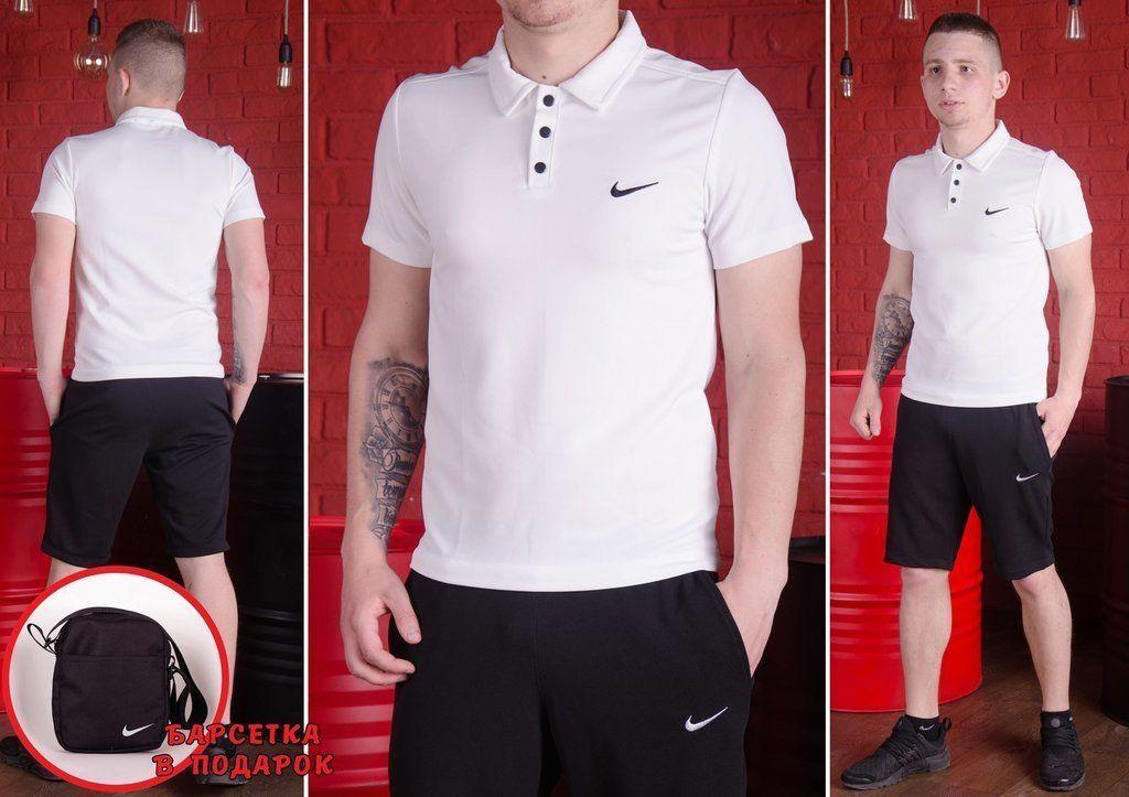 Мужской комплект футболка поло и шорты S ,M ,L ,XL + подарок барсетка