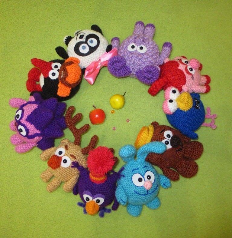 Мягкая игрушка ручной работы вязаные смешарики, малышарики, смешарик
