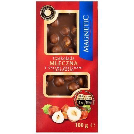 Шоколад молочный цельный лесной орех Magnetic из Германии