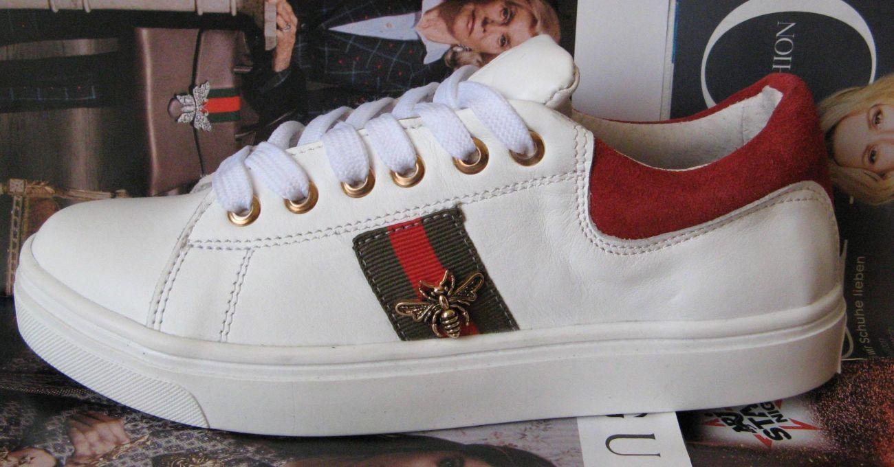 Женские кожаные кеды в стиле Gucci туфли кроссовки Гуччи весна лето ... b8e1e53649d