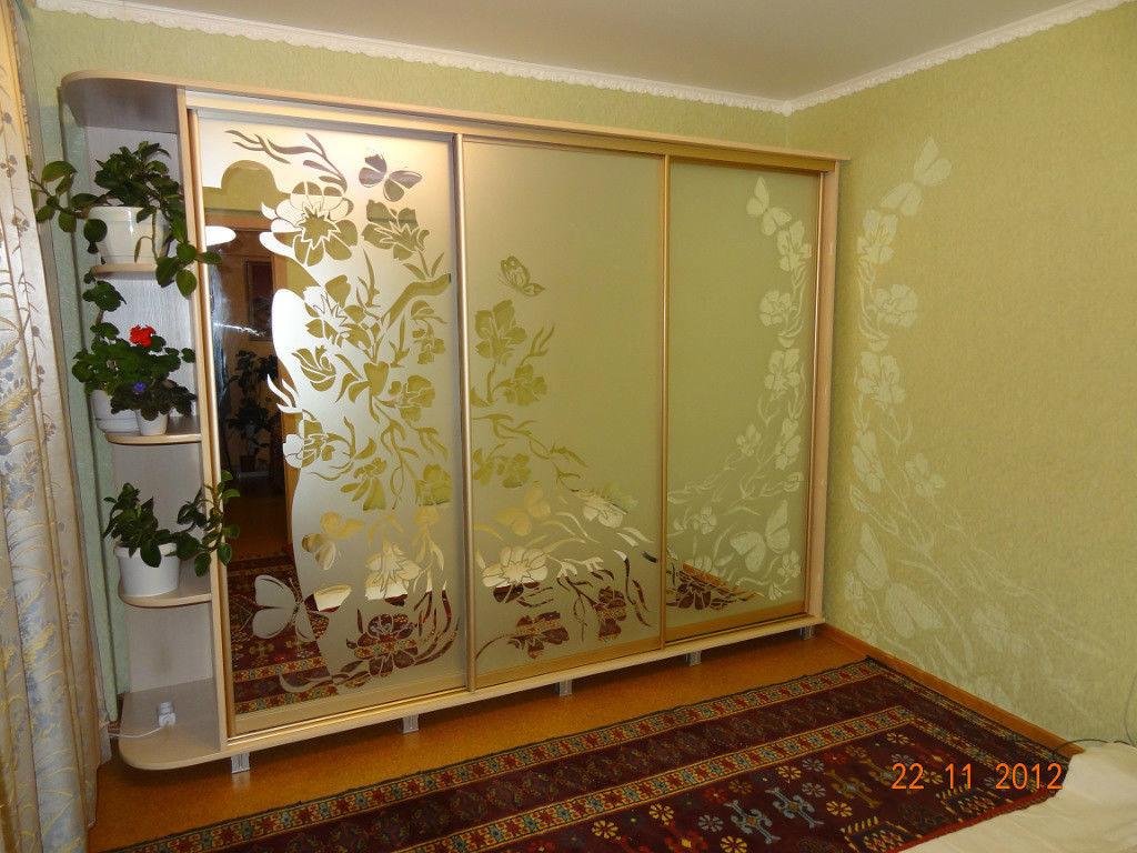 Шкафы купе с пескоструйным рисунком на заказ в Николаеве и области.