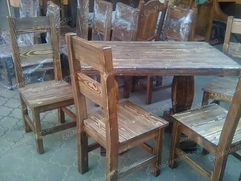 стулья и стол из дерева под старину для ресторана пивного паба и бара