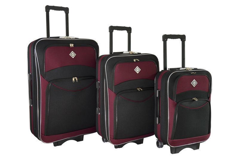 09f07c3372ea Чемодан сумка дорожный Bonro Style набор 3 штуки черно-вишневый: 1 ...