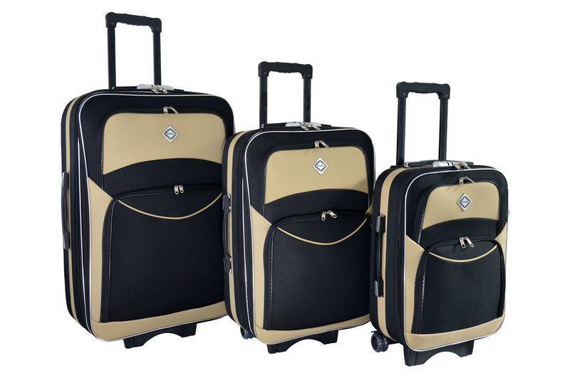 98cd3d3024eb Чемодан сумка дорожный Bonro Style набор 3 штуки черно-кремовый: 1 ...