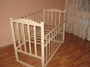 Кроватка детская Бельчонок, не крашеная, светлая, новая, в наличии