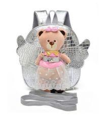Рюкзак детский прогулочный для девочки розовый серебристый с игрушкой