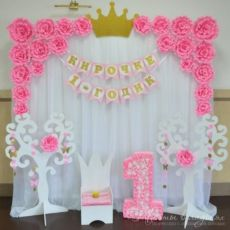 Фотозона на 1 годик розовая, для девочки.