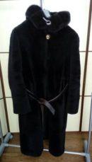 Шуба мутоновая с норкой Viaeducci Турция 54 р-р темный черный шоколад