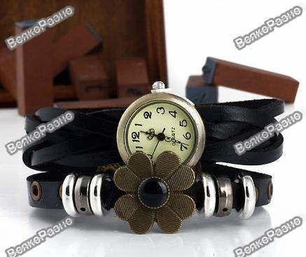 af88484338a9 Оригинальные женские часы-браслет черного цвета с цветочком  75 грн ...
