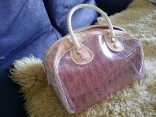 Трендовая винтажная прозрачная сумка Dior ОРИГИНАЛ розовая канва