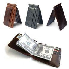 Кошелек мужской кожаный с зажимом для денег и 12 карманов под карточки