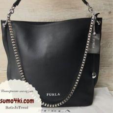 Женская стильная сумка Furla Фурла черная марсала бронза