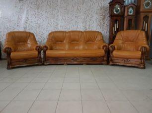 Комплект кожаный диван кресло шкіряний диван кожаная мебель