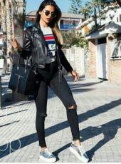черные джинсы скинни с дырками,джинсы слим фит с порезами на коленях