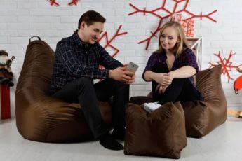 Набор бескаркасное кресло груша мешок, диван, пуфик XL. Мягкая мебель