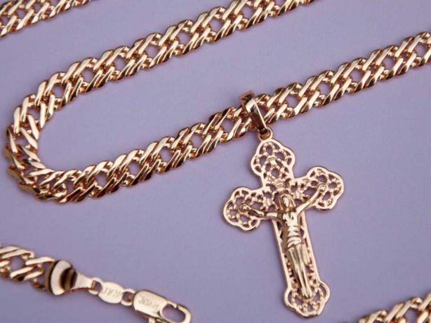 f284c91637a2 Цепочка и браслет Ромб 7 мм + крест №20 (медицинское золото, позолота)