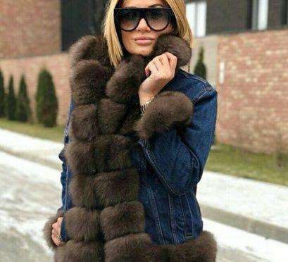 Джинсовая парка с натуральным мехом песца куртка женская шуба 3be07eb129d