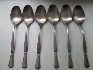 Набор:ложки столовые-6 шт.,мельхиор,серебрение-Wilkens 90, Германия.