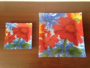 Набор квадратных тарелок, стекло 7шт.(6+1)