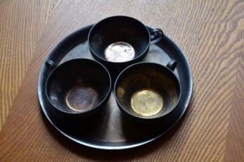 Сервиз кофейный ЮММЕТ 3 чашки+поднос (СССР). Мельхиор, серебрение