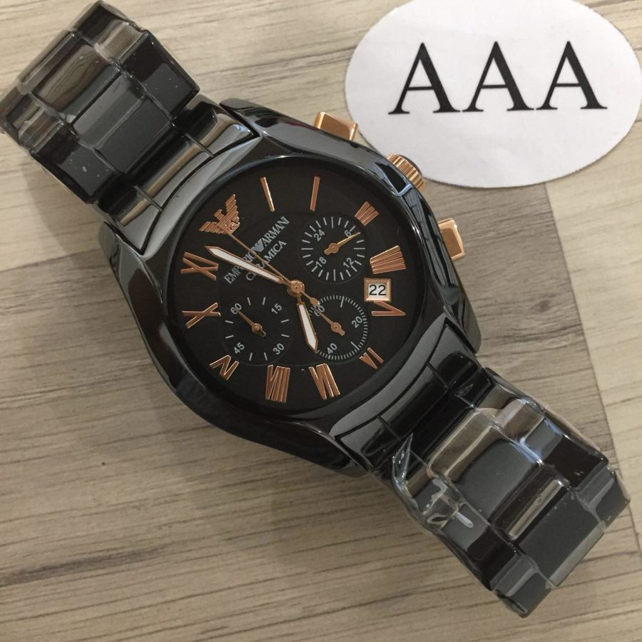 Emporio Armani Mens Black and Gold Chronograph Watch Ar5905